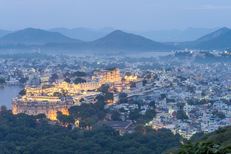 mughal empire: aerial view of udaipur at night