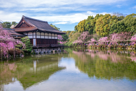 Japanese-style garden with cherry blossom in Heian Shrine Stock Photo - 89872156