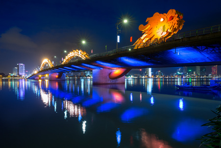 Dragon Bridge in Da Nang at night