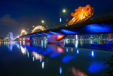 Dragon Bridge in Da Nang at night Reklamní fotografie