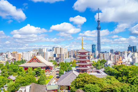 Aerial view of tokyo city with senso temple in japan