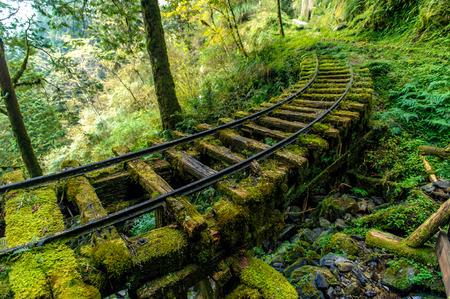 Abandoned railway tracks in Yilan, Taiwan 스톡 콘텐츠
