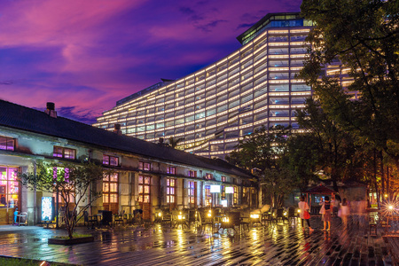 night view of songshan cultural park in taipei 写真素材