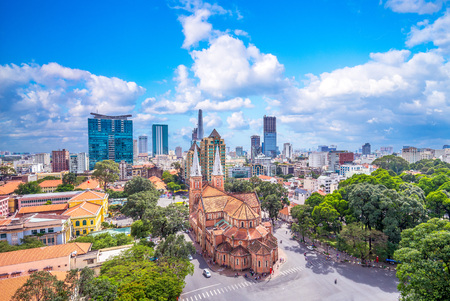Aerial view of Notre-Dame Cathedral Basilica of Saigon Stock Photo - 95672075