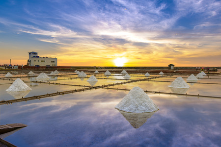 Salt pans in Jingzaijiao, Tainan, Taiwan Stock Photo