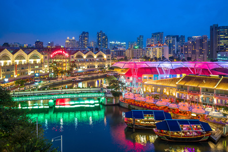 aerial view of Clarke Quay in singapore at night