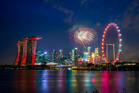 night view of singapore with firework