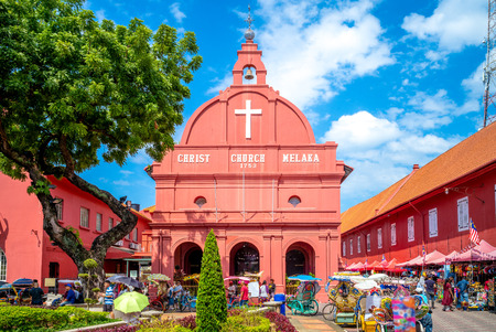말라카 (Melaka)의 그리스도 교회와 네덜란드 광장