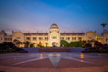 facade of Ipoh railway station at dusk in ipoh