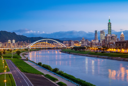 night view of taipei city by the river