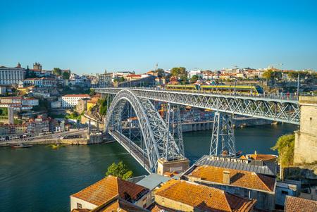 cityscape of porto in portugal with luiz I bridge