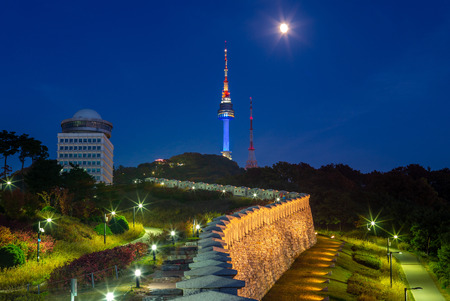 night view of namsan seoul tower in seoul, korea Editorial