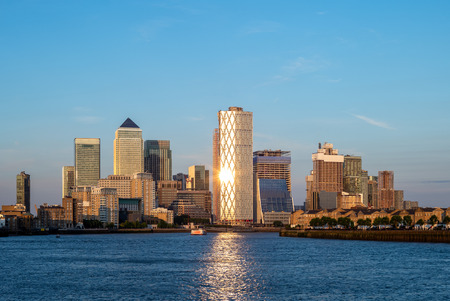 london skyline at Canary Wharf by river thames Stock Photo