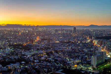 cityscape of nagoya city in japan at dusk