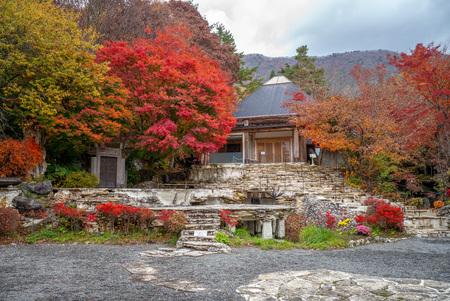 kawaguchiko, Japan - November 10, 2018: Kubota Itchiku art museum, which is devoted to Kubota Itchiku stands in the wooded hills along the coast of Lake Kawaguchiko