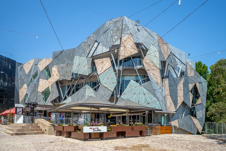 Melbourne, Australia - January 1, 2019: Australian Centre for the Moving Image at Federation Square, an Australia's national museum of film, video games, digital culture and art