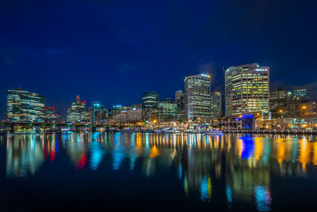 night view of darling harbor in sydney, australia