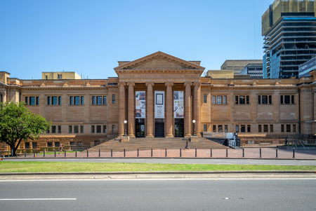 Sydney, Australia - January 8, 2019: facade of public library of new south wales, a large heritage-listed special collections, reference and research library open to the public