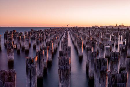scenery of Princes Pier in melbourne at dusk 版權商用圖片