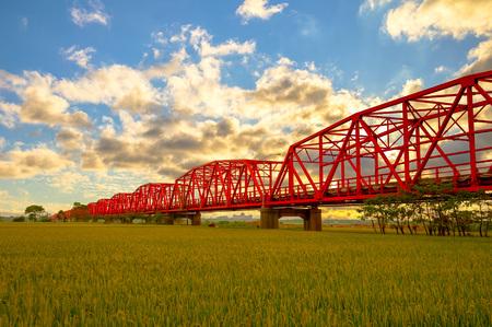 Xiluo Bridge over the farm land in Yunlin Stock Photo