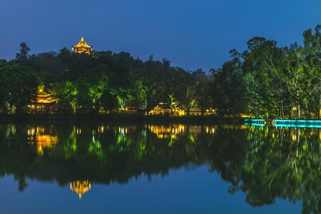 West Lake (xihu) park in Fuzhou, China at night Zdjęcie Seryjne