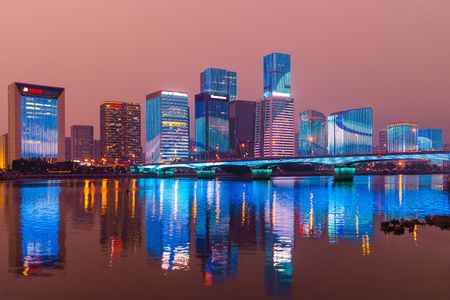 skyline of Taijiang, fuzhou at night by Min River
