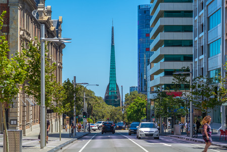 street view of perth with swan bell tower 免版税图像 - 120117278
