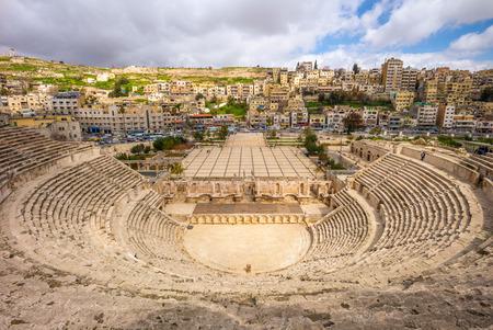 Vue aérienne du théâtre romain d'Amman, Jordanie