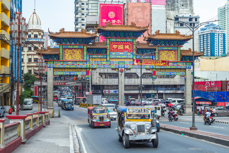 Manila, Philippines - April 8, 2019: the largest chinatown arch of the world in manila, which was inaugurated on June 23, 2015.