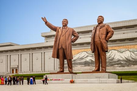 Pyongyang, North Korea - April 29, 2019: Kim Il Sung and Kim Jong Il statues in Mansudae, pyongyang.