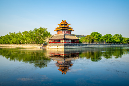 corner tower at the forbidden city, beijing, china Editorial