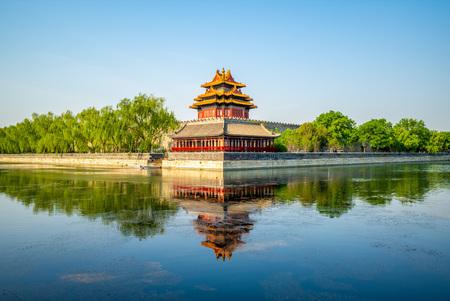 torre d'angolo alla città proibita, pechino, cina Editoriali