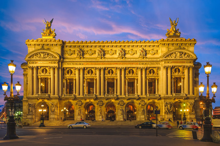 Night view of the Palais Garnier, Opera in Paris Editorial