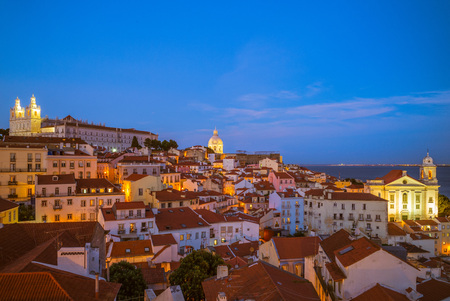skyline of lisbon, the capital of  portugal at night