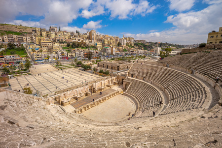 Aerial view of Roman Theatre in Amman, Jordan 写真素材