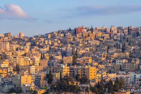 skyline of Amman, capital of Jordan, at dusk
