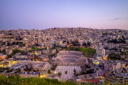 skyline of Amman, capital of Jordan, at night 写真素材