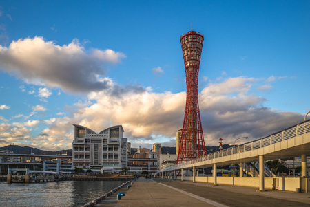 skyline of port of kobe in osaka aera, japan 写真素材