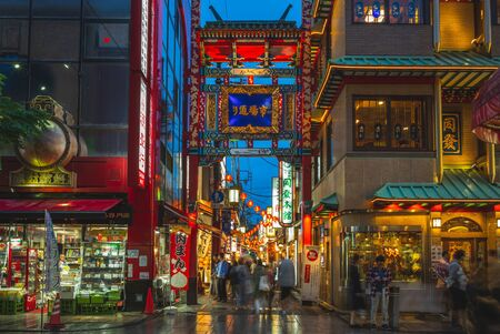 Yokohama, Japan - June 15, 2019: Yokohama Chinatown, the largest Chinatown in Japan. It was developed after the port of Yokohama opened to foreign trade in 1859.
