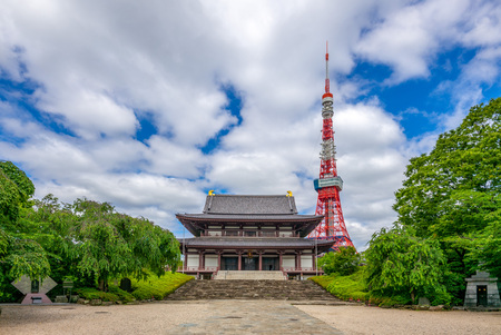 main hall of zojoji and tokyo tower in japan
