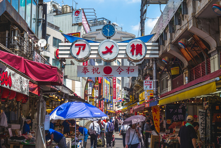 Tokyo, Japan - June 13, 2019: Ameya Yokocho, or Ameyoko, is a famous shopping arcade filled with around 400 shops. the street was the site of a black market in the year following World War Two.