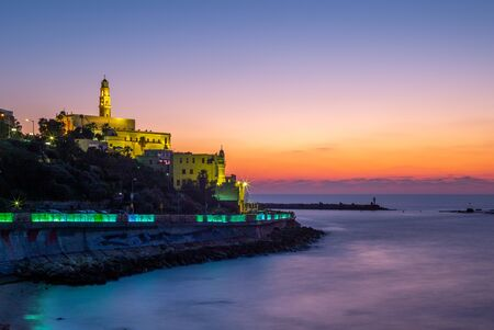 night view of Jaffa from the Tel Aviv Promenade