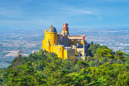 pena palace on the top of hill in sintra, portugal 報道画像