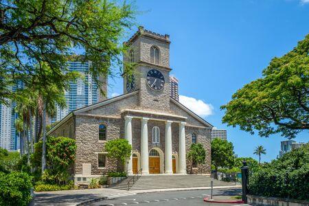 Kawaiahao Church at Honolulu, Oahu, Hawaii 版權商用圖片