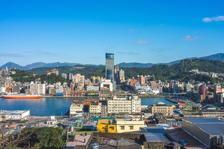 Cityscape of keelung harbor in northern taiwan