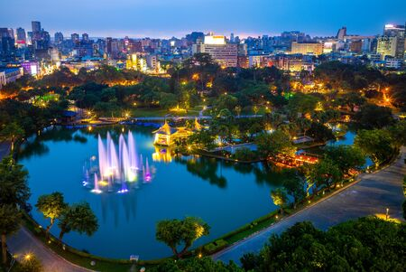Cityscape of Taichung and zhongshan park at night