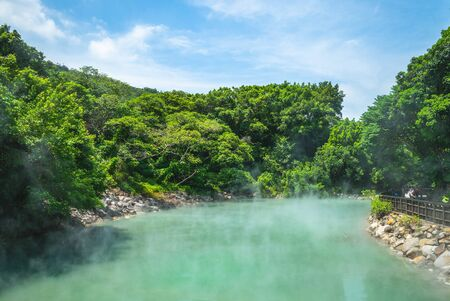 scene of thermal valley at beitou, taipei, taiwan