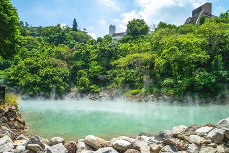 scene of thermal valley at beitou, taipei, taiwan