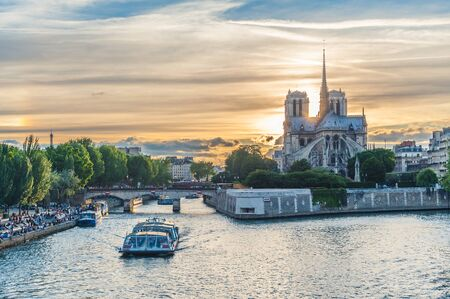 landscape of paris by the sunset