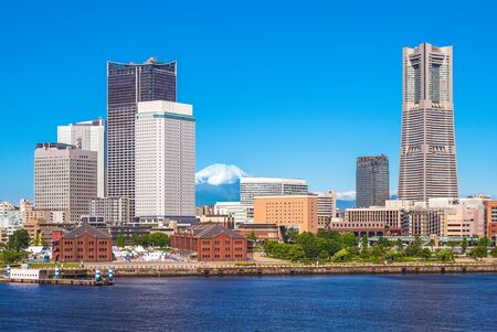 Scenery of yokohama port with mount fuji in japan